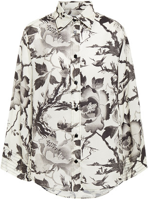 McQ Floral-print Washed Crepe De Chine Shirt