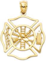 Macy's 14k Gold Charm, Fireman Shield Charm