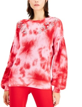 INC International Concepts Inc Petite Tie-Dye Cotton Embellished Sweater, Created for Macy's