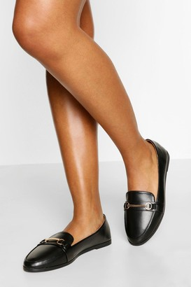 boohoo Wide Fit Metal Bar Loafer