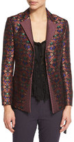 Etro Scroll-Jacquard Side-Slit Jacket, Black/Multi