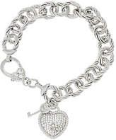 "Judith Ripka As Is Verona 8"" Heart & Key Charm Bracelet 36.9g Sterling"