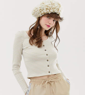 Monki ribbed stripe top in beige