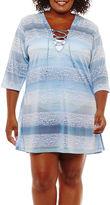 Porto Cruz Pattern Jacquard Swimsuit Cover-Up Dress-Plus