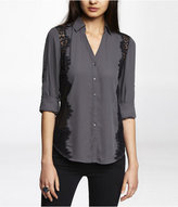 Express Lace Trimmed Convertible Sleeve Blouse