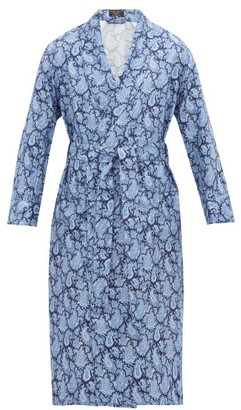 Emma Willis Paisley-print Silk-twill Robe - Navy