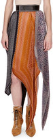 Loewe Pleated Mixed-Print Midi Skirt w/Logo Belt, Orange Pattern