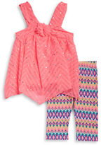 Little Lass Girls 2-6x Little Girls Sequin Top and Patterned Leggings Set