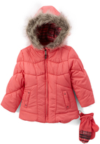 London Fog Coral Hooded Puffer Coat - Girls