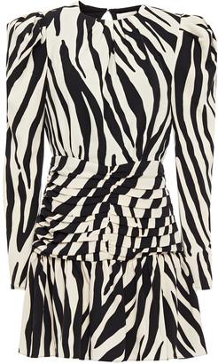 Ronny Kobo Ruched Zebra-print Crepe Mini Dress