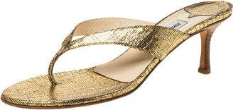 Jimmy Choo Gold Textured Leather Thong Wooden Heel Sandals Size 39.5