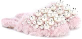 Miu Miu Embellished faux-fur slippers
