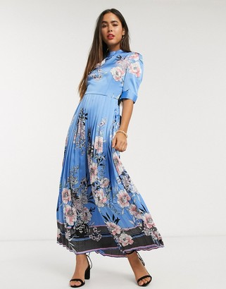 Liquorish pleated maxi dress with sash belt in floral print