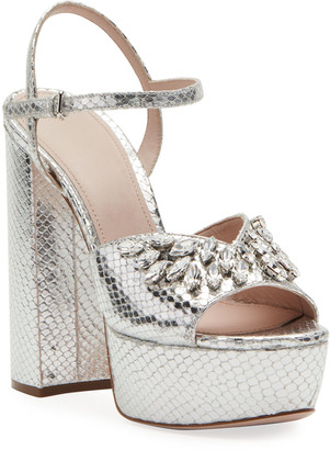 Miu Miu Metallic Crystal Platform Sandals