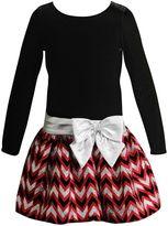 Youngland Girls 4-6x Velour Chevron Glitter Drop Waist Dress