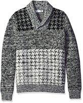 Calvin Klein Men's Lambswool Houndstooth Shawl Sweater