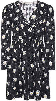 Maje Rayom Wrap-effect Floral-print Broderie Anglaise Cotton Mini Dress
