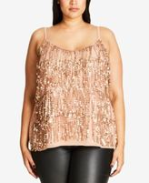 City Chic Plus Size Sequined Fringe Tank Top