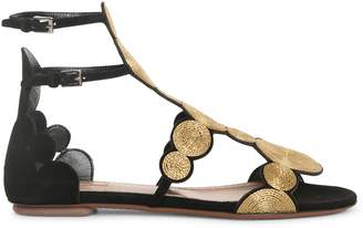 Alaia Black suede gold raffia flat sandals