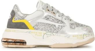 Premiata Glitter-Panelled Sneakers