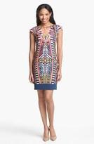 Adrianna Papell Cutout Detail Print Sheath Dress