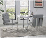 Asstd National Brand Inspired Home Set of 2 Triniti PU Leather Button Tufted Square Arm Chrome Frame Dining Chairs