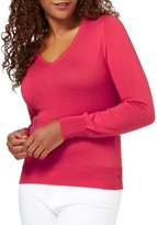 Wool Overs WoolOvers Womens Silk and Cotton Long Sleeve V Neck Knitted Sweater , S
