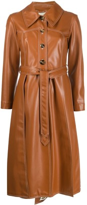 A.W.A.K.E. Mode Faux-Leather Trench Coat