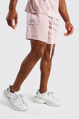 boohoo Mens Pink MAN Print Mid Length Shorts With Raw Hem, Pink