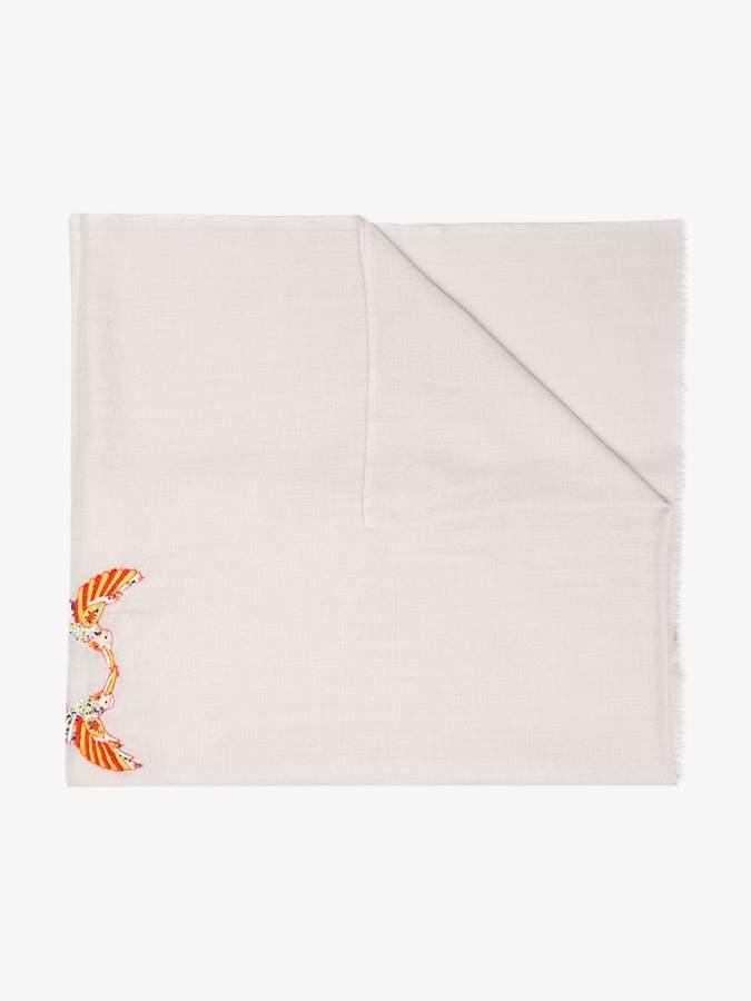 Janavi beige embroidered bird cashmere scarf