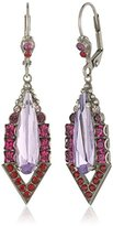 """Sorrelli Pink Ruby"""" Elongated Teardrop and Triangle French Wire Drop Earrings"""