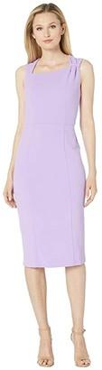 Donna Morgan Sleeveless Asymmetric Neck Sheath Crepe Dress (Lavender) Women's Dress