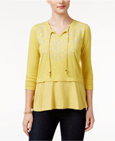 Style&Co. Style & Co Petite Embroidered Layered-Look Peasant Top, Only at Macy's