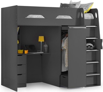 Max High Sleeper With Desk And Pullout Wardrobe