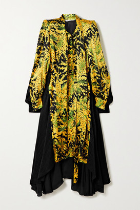 Balenciaga Belted Asymmetric Paneled Printed Silk-jacquard Midi Dress - Yellow
