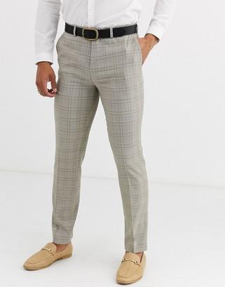 Topman slim suit pants in stone check
