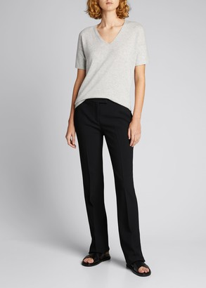 Lafayette 148 New York V-Neck Short-Sleeve Rounded Cashmere Sweater