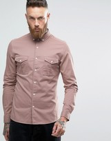 Asos Skinny Military Shirt In Dusty Pink With Long Sleeves