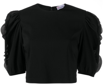 RED Valentino Ruffle-Trimmed Cropped Blouse