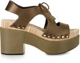 Balenciaga Cut-out satin platform sandals