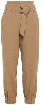 Brunello Cucinelli Belted Cotton-twill Tapered Pants