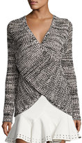 Derek Lam 10 Crosby Cross-Front Cotton Pullover Sweater, Black/Ivory