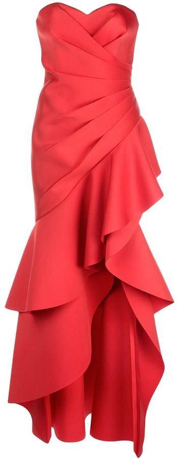 Badgley Mischka Strapless Ruffled Dress