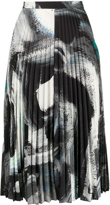 Dvf Diane Von Furstenberg Lay brush stroke-print pleated skirt
