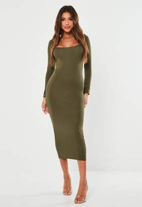 Missguided Khaki Scoop Neck Long Sleeve Midi Dress