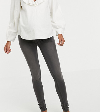 Mama Licious Mama.Licious Mamalicious skinny jeans with stretch comfort panel - 34 inch length-Grey