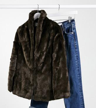 ASOS DESIGN Petite stand faux fur collar coat in brown