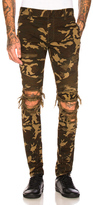 Balmain Camouflage Destroyed Jeans in Brown,Green.