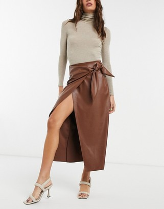 ASOS DESIGN leather look pencil skirt with tie detail in dark tan