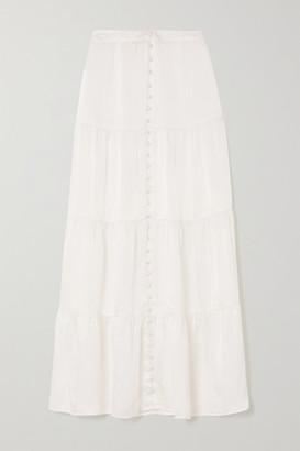 SLEEPING WITH JACQUES The Sylvia Tiered Silk-satin Midi Skirt - White